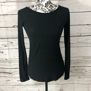 James Perse Long Sleeve Fitted Black Top Shirt S/1